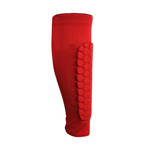 QQ1980s Calf Compression Side Padded Sleeve-Leg Compression Socks for Shin Splint Calf Pain Relief Graduated Compression (Red, L)