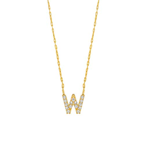 Columbus 14K Gold Dipped Initial Necklace - Personal Letter Pendant Necklace (W)