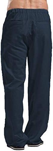 COOFANDY Men Linen Pants Casual Elastic Waist Drawstring Yoga Beach Trousers
