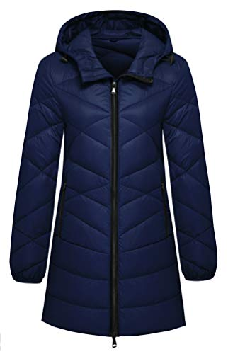 Wantdo Women's Lightweight Packable Hooded Down Coat, Navy, Small
