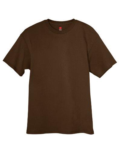 Hanes Mens Tagless 100% Cotton T-Shirt, Medium, Dk Chocolate