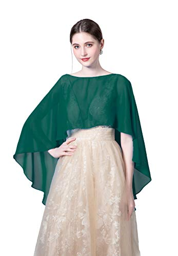 Wedding Capes Womens Soft Chiffon Shrug Bridal Long Shawl and Wraps (Blue green)]()