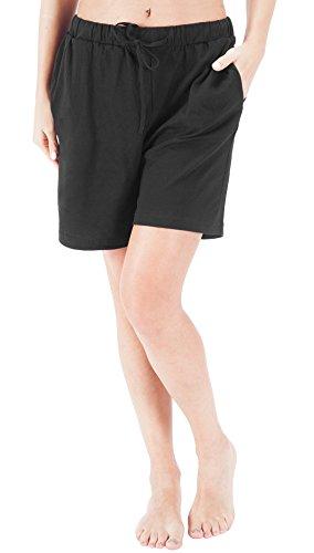 WEWINK CUKOO Women Pajamas Shorts Cotton Sleep Shorts Stretchy Lounge Shorts with Pockets (L=US 12-14, ()