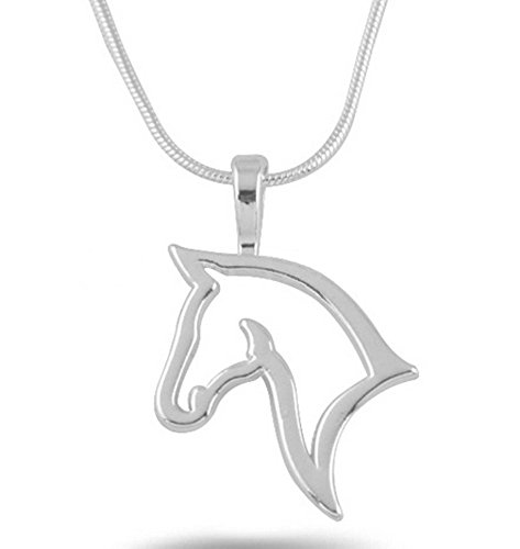PlanetZia Creations Sterling Silver Horse Head Silhouette Pendant Necklace, Equestrian Necklace TVT-HHS