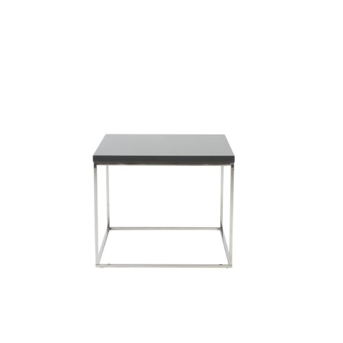 - Euro Style Teresa Rectangular Lacquer Top Side Table, Gray with Polished Stainless Steel