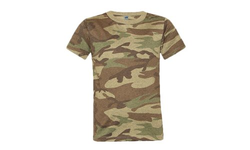 Kavio! Youth Heather Camouflage Short Sleeve Tee Camo Army Green L