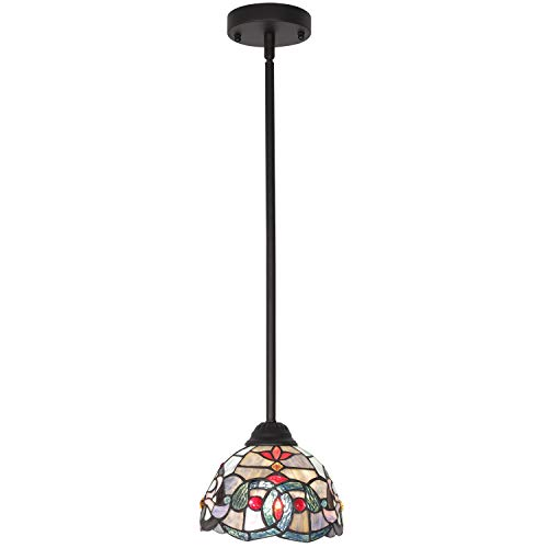 Kitchen Traditional Kitchen Island - BONLICHT Indoor Mini Pendant Lighting Antique Tiffany Style Victorian 1-Light Ceiling Pendant Fixture 7.5-Inch Shade, Traditional Multi-Colored Glass Chandelier for Dining Room Kitchen Island Bedroom