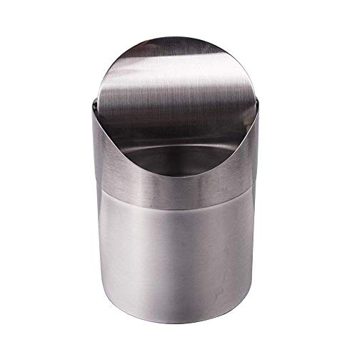 Swing Lid Wastebasket - OceanEC Recycling Trash Can Lid, Fashion Mini Brushed Stainless Steel Wave Cover Counter Top Trash Can Garbage Bin Perfect The Kitchen Bathroom Office Use