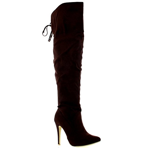 Womens Thigh Platform High Heels Stilettos Stretch Over The Knee Boots - Brown Suede - US7/EU38 - KL0038H