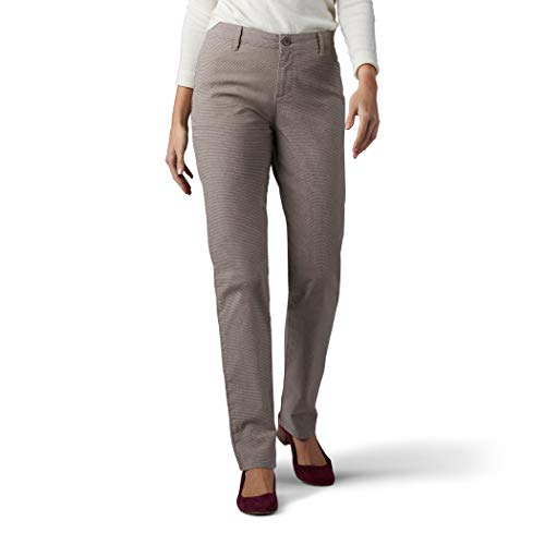 LEE Women's Relaxed Fit All Day Straight Leg Pant, deep breen micro check, 16 Long