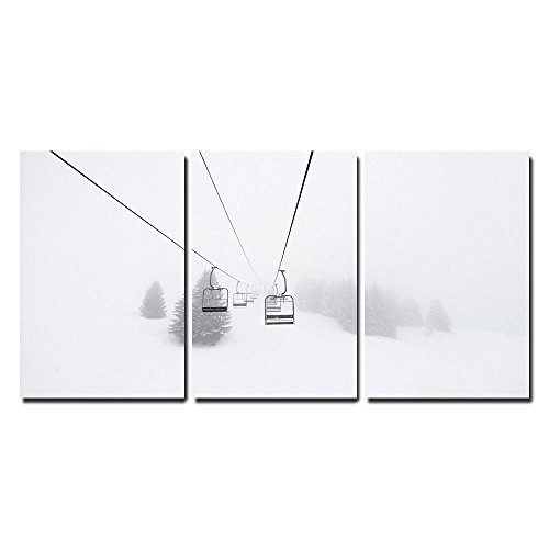 """Wall26 - 3 Piece Canvas Wall Art - Ski Lift in Winter - Modern Home Decor Stretched and Framed Ready to Hang - 24\""""x36\""""x3 Panels"""