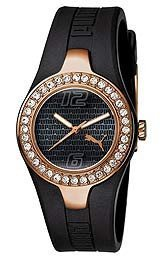 Puma Straps Grid Crystal Accents Black Dial Women's watch #PU101122008