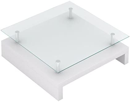 Goedkoopste Salontafel met glazen tafelblad wit E4RmTDL