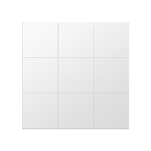 Espejo adhesivo espejo vinilo adhesivo decorativo cuadrado efecto Espejo cuadros plateado extraíble para cuarto de baño,...