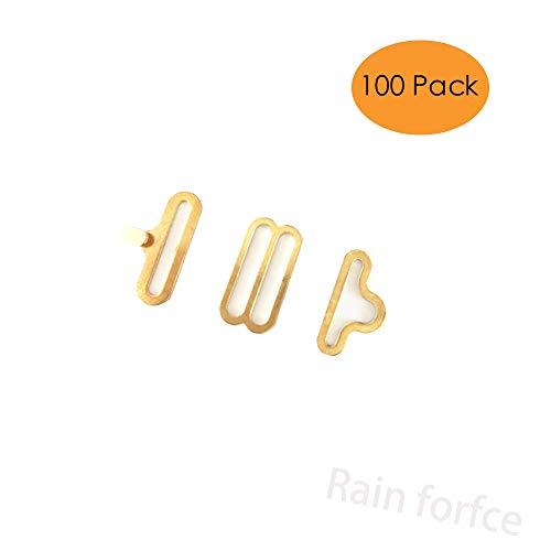 Rainforce 100 Sets Adjustable Bow Tie Hardware Clip Set, Metal Cravat Clip Hook Fastener for Necktie Strap (Golden) (Hardware Metal Golden)