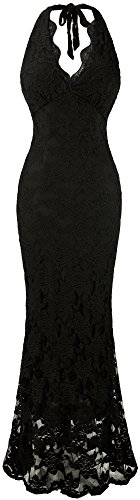 Angel-fashions Women's Halter V Neck Lace Mermaid