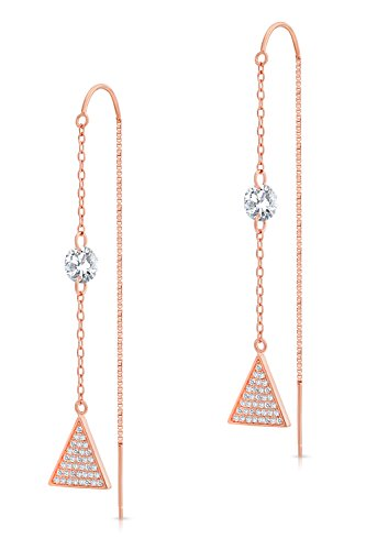 925 Sterling Silver Rose-Tone Triangle Threader Drop Earrings with Cubic Zirconia (Pink-Rose-Gold-Tone)