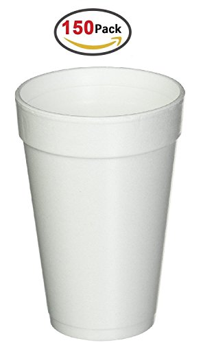 - 16 Oz. White Disposable Drink Foam Cups Hot and Cold Coffee Cup (Pack of 150)