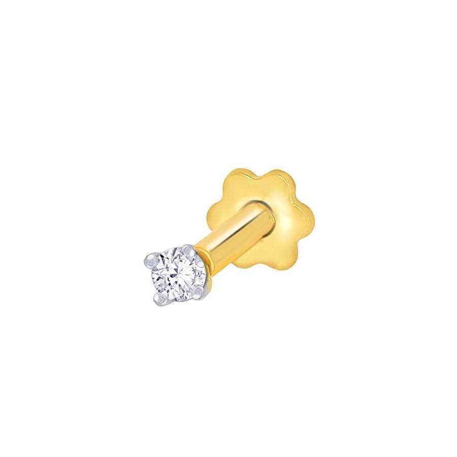 2.3mm Diamond Nose Stud/Lip Labret/Screw Ring Piercing Pin Bone 14k Gold 19.5 Guage (GH/I1 I2)