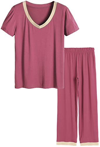 Latuza Women's V-Neck Sleepwear Short Sleeves Top with Pants Pajama Set (2X Plus, Brick Red)
