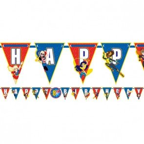DC Superhero Girls Birthday Custom Age Banner - 10 feet Birthday Party Supplies
