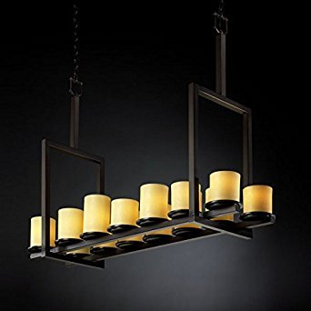 (Justice Design CNDL-8764-10-AMBR-DBRZ, CandleAria Dakota Chandelier Lighting, 14LT, 840w, Bronze)