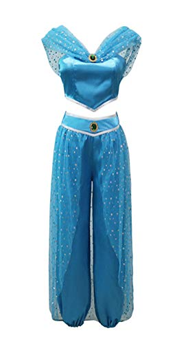Jasmine Costume for Women Blue, Halloween Arabian Princess Cosplay Outfit India Belly Dance Full Set (XX-Large) for $<!--$49.99-->