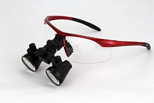 "Dental Surgicial Loupe Loupes 2.5x Magnification 16.5"" (420mm) Working Distance Burgundy Goggles"