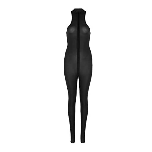 Dpois Womens Sheer See Through One Piece Sleeveless Double Zipper Crotch Body Shapewear Teddy Bodysuit Jumpsuit