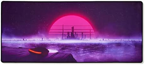 MouseOne Thasis - Extended Gaming Mouse Pad - Retrowave Edition - Cloth with Stitched Edges - 15.7in H x 36.6in L