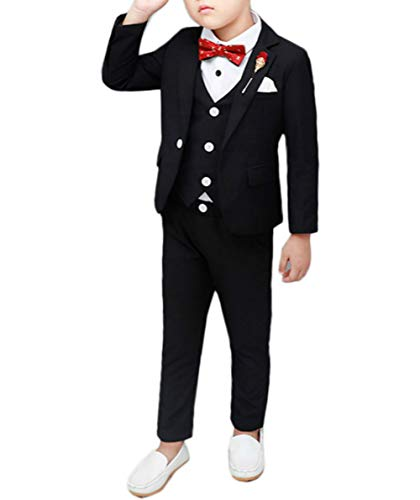 (Boys Black Tuxedo Suit with Tie Young Boys Youth 3T Black 90 cm)