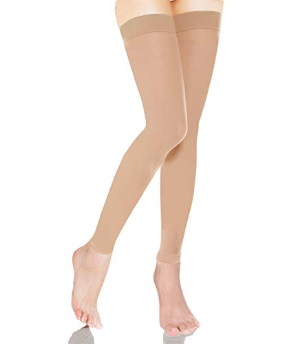 Medical Thigh High Compression Stockings With Silicone Band Firm Support 20-30 mmHg,Gradient Footless Compression Sleeves Thigh Support Stockings Hose for Swelling, Varicose Veins, Edema (Beige, XXL)