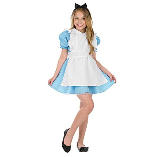 Girls Traditional Alice in Wonderland Costume Blue Apron Dress - Small]()