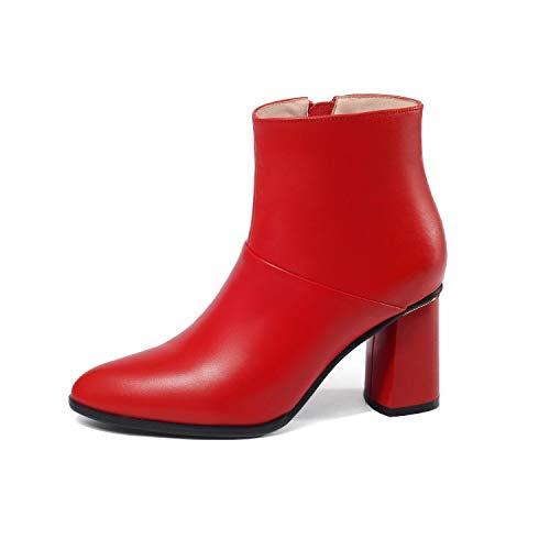pour Lsm Bottes à Femmes Red Rond Bout Bottines FTXTnxaRq