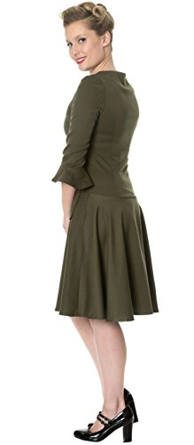 Days Everlasting Dunkles Damen Uniform Dancing Olivgrün Dress Kleid Vintage 6dSvwzwq