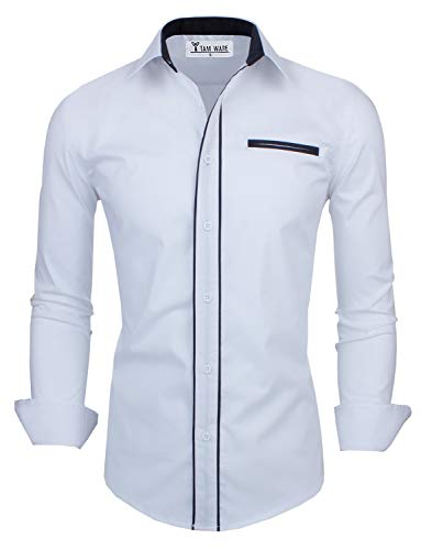 TAM WARE Mens Premium Casual Inner Contrast Dress Shirt TWNMS310-1-CMS03-WHITE-US M