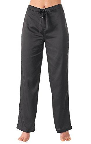 Stretch Satin Set (PajamaGram Stretch Satin Pajama Pants For Women, Black, LRG (12-14))