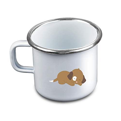Brown White Puppy Sleeps Metal Camping Mug Enamel Cup