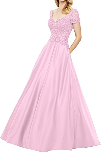 Bodenlang 2017 Ivydressing Grau Glamour V Rosa Spitze Abendkleider Brautmutterkleider Neck Satin Kurzarm AfwSHwY