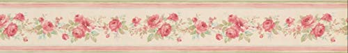 (PP79051 Red Roses in Bouquet Creme White Floral Wallpaper Border 3.5