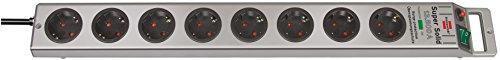 Brennenstuhl Super-Solid Überspannungsschutz-Steckdosenleiste 8-fach silber mit Schalter, 1153340318
