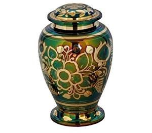 MEMORIALS 4U Emerald Green Cremation Urn – Green Urn with Gold Accents – Adult Funeral Urn Handcrafted and Engraved – Affordable Urn for Ashes – Large Urn Deal.