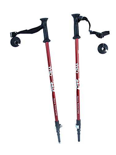 "Junior Pole - WSD Ski Poles Telescopic Adjustable Collapsible Kids Junior Downhill/Alpine ski Poles Pair Baskets 32"" to 42 (Red)"
