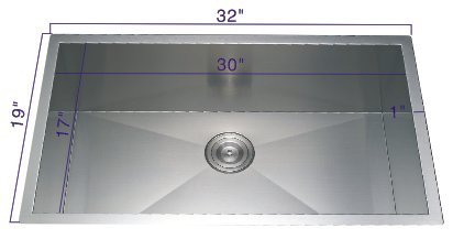 19' Stainless Steel Sink (321910 32''19''10'' Undermount Single Bowl 18 Gauge Stainless Steel Hand Made Sink)