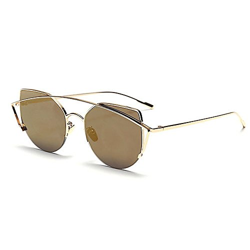 Playa Conducción Cat para Marrón Verano Eyes al Vacaciones para Rimmed Color Peggy de la de UV Graceful Marrón Mujeres Libre Gafas Gu Protección Metal Full Sol Aire xBnagXq