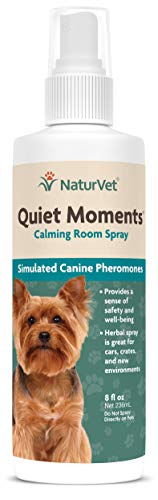 NaturVet - Quiet Moments Herbal Calming Room Spray - Provides a Sense of Safety & Well-Being - Great for Cars, Crates & New Environments - 8 oz Canine Spray