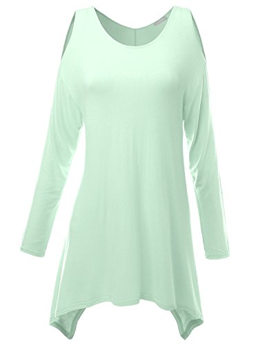 Doublju Womens Basic Top Casual T-shirt Boatneck LIGHTMINT Onepiece style ,M