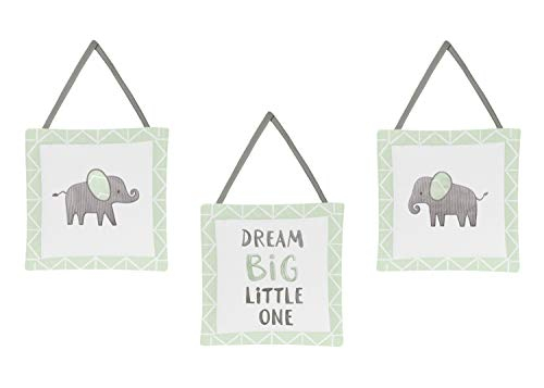 Sweet Jojo Designs Mint, Grey and White Wall Hanging Decor for Watercolor Elephant Safari Collection - Set of 3