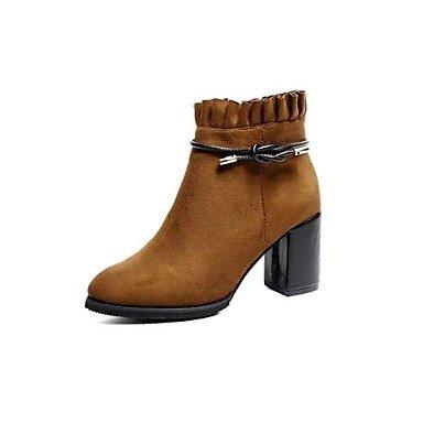 RTRY Zapatos De Mujer Cuero De Nubuck Pu Moda Otoño Invierno Confort Botas Botas Cuadra Talón Round Toe Para Negro Marrón Ocasional US7.5 / EU38 / UK5.5 / CN38