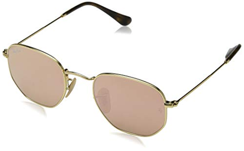 Ray-Ban RB3548N Hexagonal Flat Lenses Sunglasses, Shiny Gold/Copper Flash, 51 mm